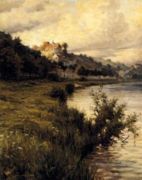 Hilltop Chateau landscape Louis Aston Knight river Oil Paintings